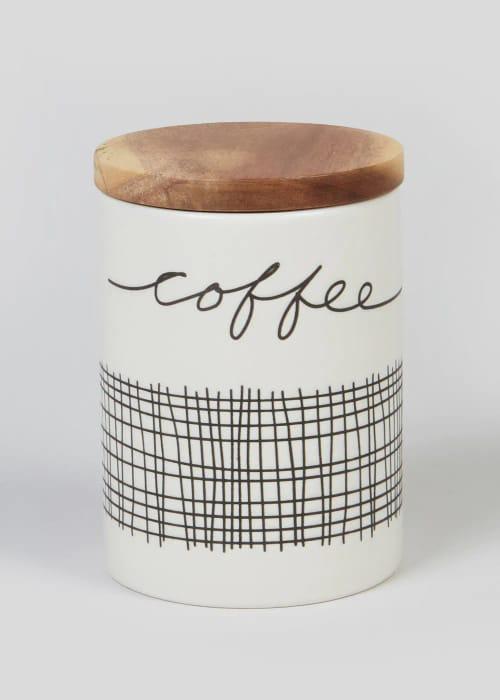Reduced-Stripe Ceramic Coffee Jar (14cm X 10cm