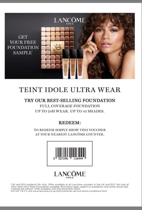 Free Lancome 5ml Teint Idole Ultra Wear Foundation Sample