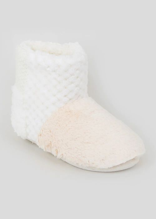 Cream Patchwork Faux Fur Slipper Boots save £7.50