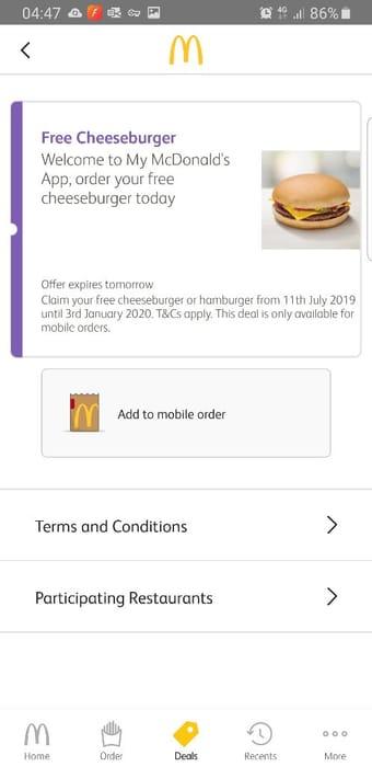 Free Cheeseburger via App