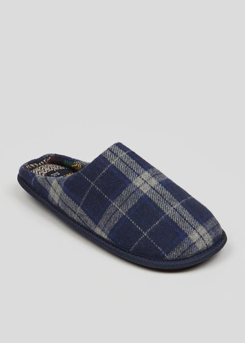 Navy Tartan Check Mule Slippers save £5