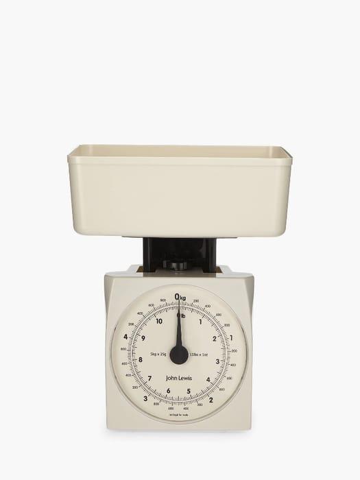 John Lewis & Partners the Basics Mechanical Kitchen Scale, White, 5kg