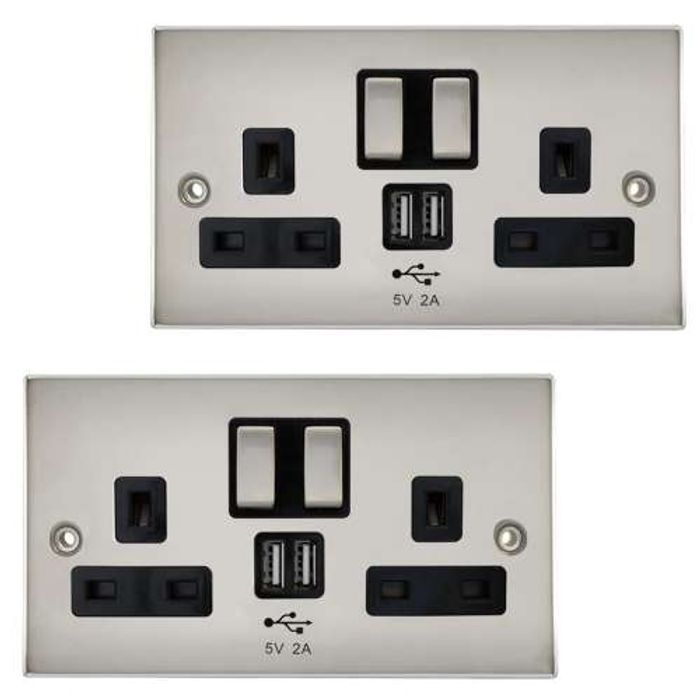 CHEAP!! Power Knight 2 Gang Power Socket Cover with USB Charge Ports 2A Output