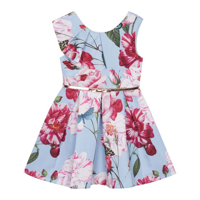 Cheap Baker by Ted Baker-Girls' mid Blue Floral Frill Dress with 50% Discount!