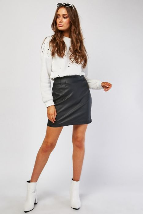 High Waist Mini Faux Leather Skirt