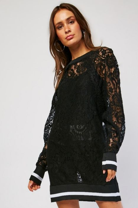 Lace Rib Edging Jumper Dress