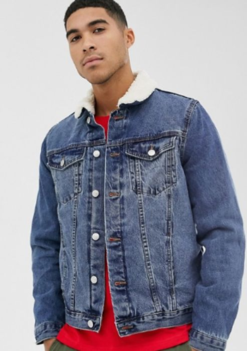 New Look Borg Lined Denim Jacket in Blue Wash