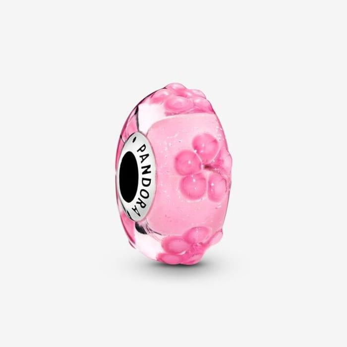 Pink Flower Murano Glass Charm