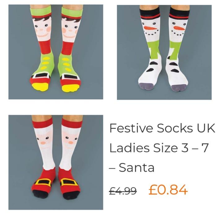 FESTIVE SOCKS in Santa & Snowman Designs for 84p each.