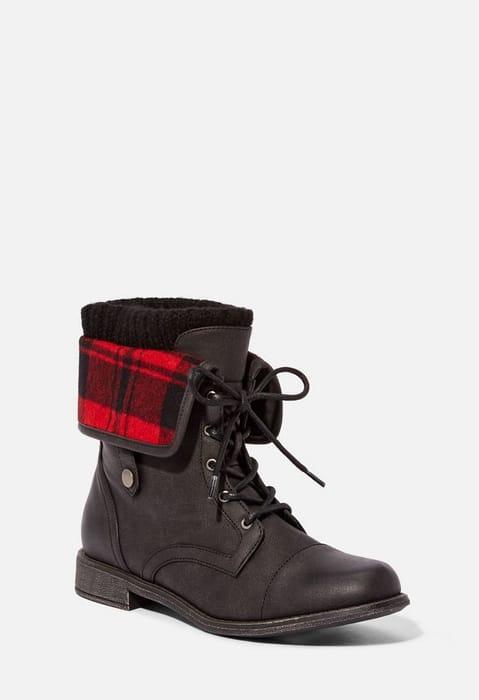 Elenora Plaid Panel Ankle Boot