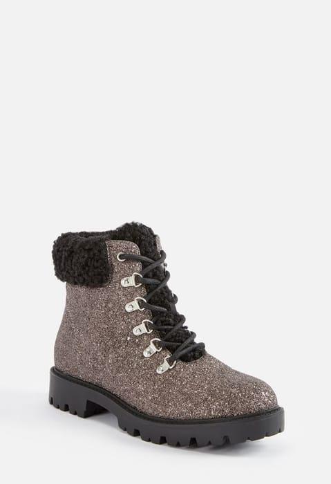 Jane Glitter Lace-up Boot