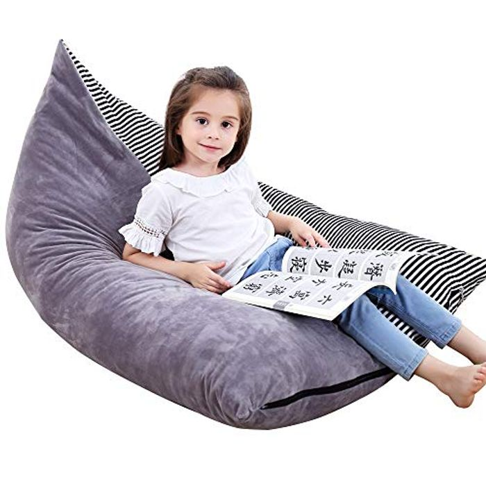Stuffed Animal Bean Bag Chair Kids Toy Storage Organizer Stuffie Seat,