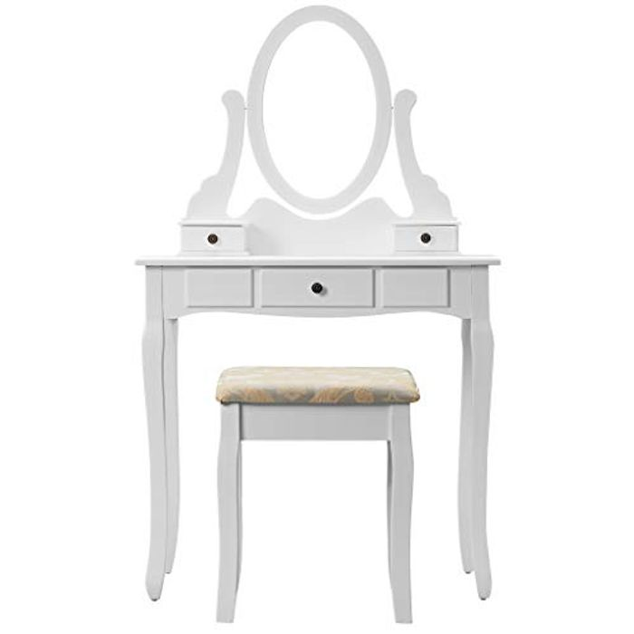 LANGRIA Dressing Table with Removable round Pivot Mirror