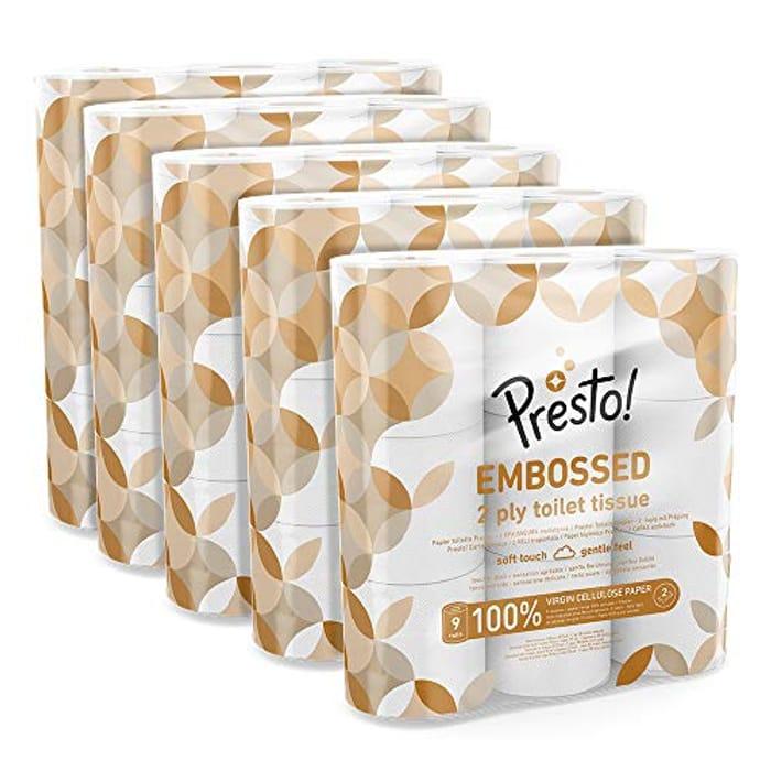 Best Ever Price! Amazon Brand - Presto! 2-Ply Embossed Toilet Tissues X 45 Rolls