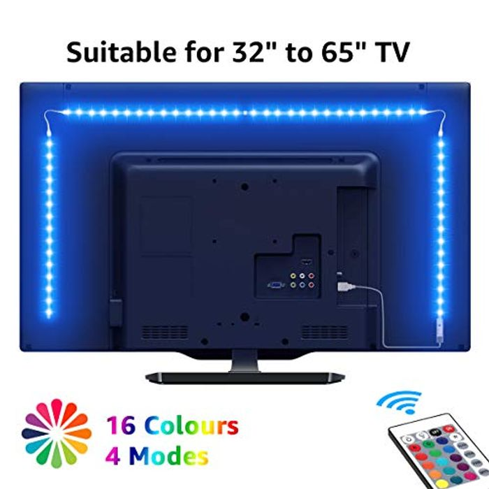 TV Backlights, 2M USB LED Light Strip with RF Remote, Dimmable RGB Mood Light