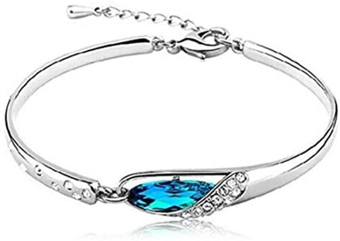 Best Price! Fashion Blue Crystals Bracelet Bangle for Lady Women Jewellery Gift