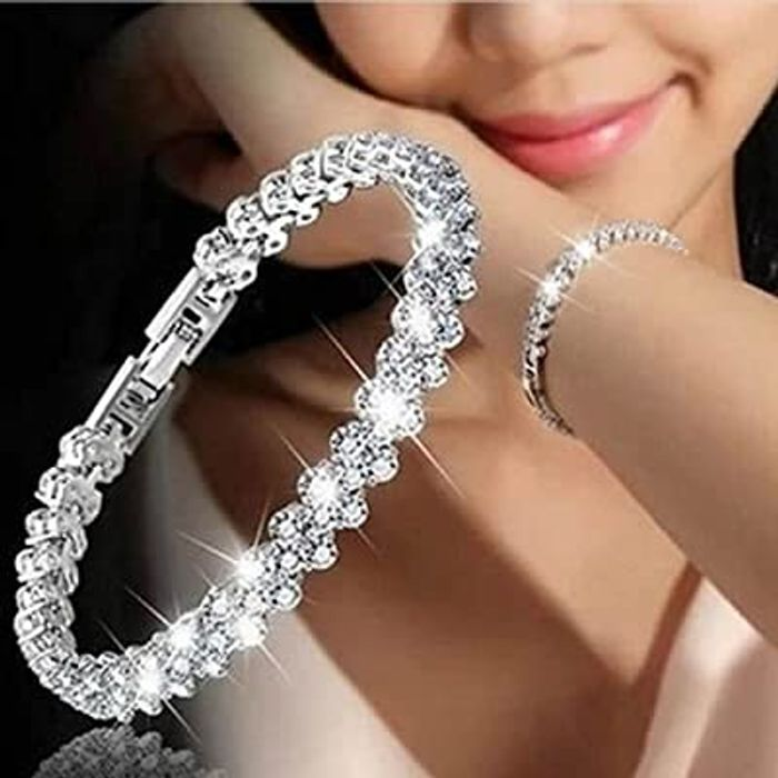 Sparkle Silver Bracelet for Women with Cubic Zirconia Crystals
