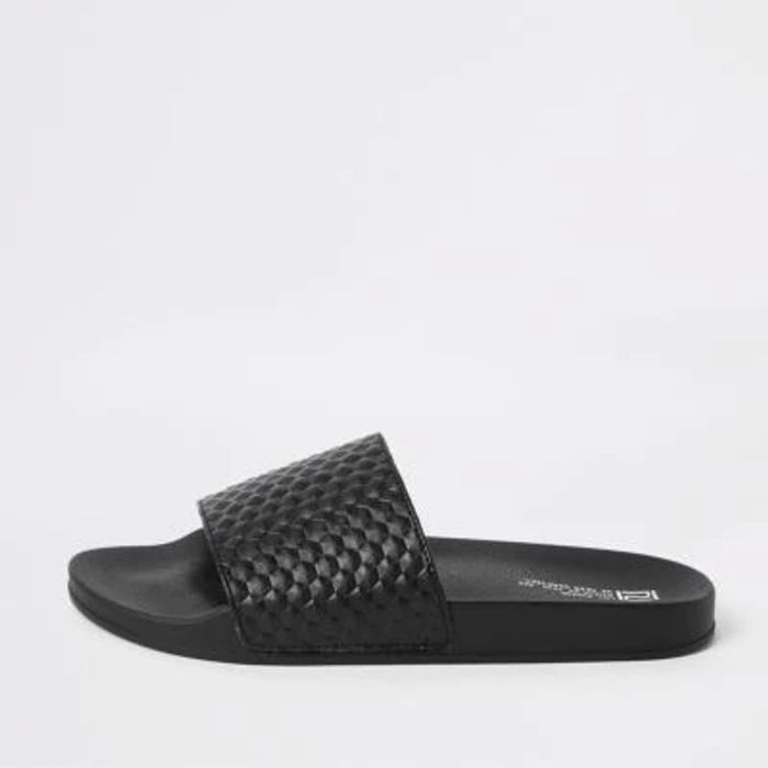 River Island Black Geo Textured Sliders Down From £14 to £5