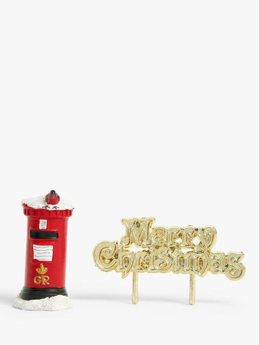 John Lewis & Partners Robin & Post Box Christmas Cake Topper, Red