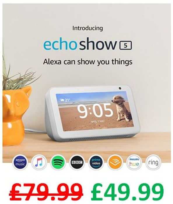 £30 off - Echo Show 5 Compact Smart Display with Alexa