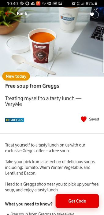 Free Soup from Greggs