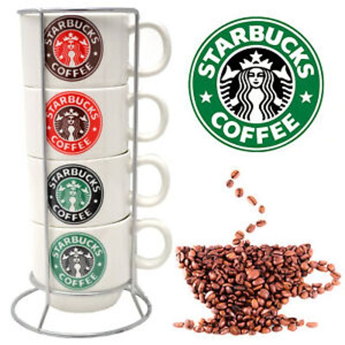 Set of 4 Starbucks Coffee Tea Mugs with Stand - 28% Off!