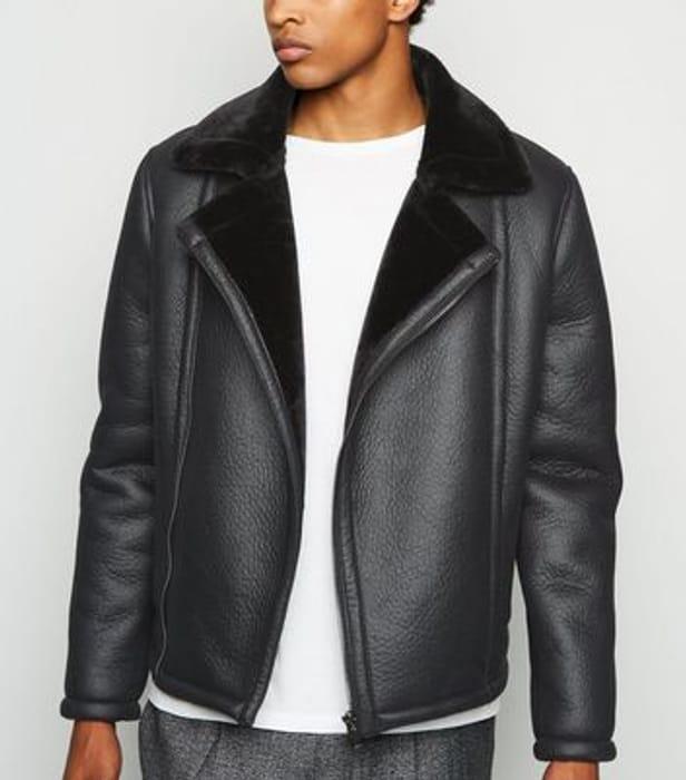 Black Leather-Look Aviator Jacket
