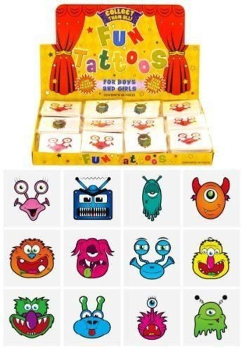 24 X Monsters Temporary Tattoos for Children