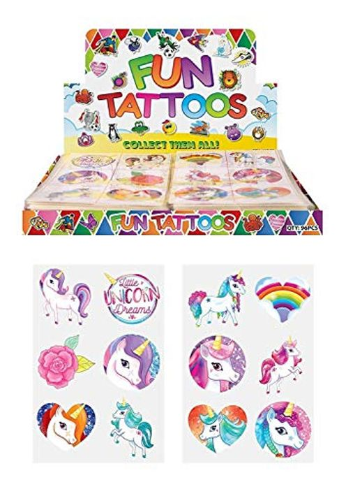 CHEAP! 24 X Girls UNICORN Temporary Tattoos Children's Birthday Party Bag Filler