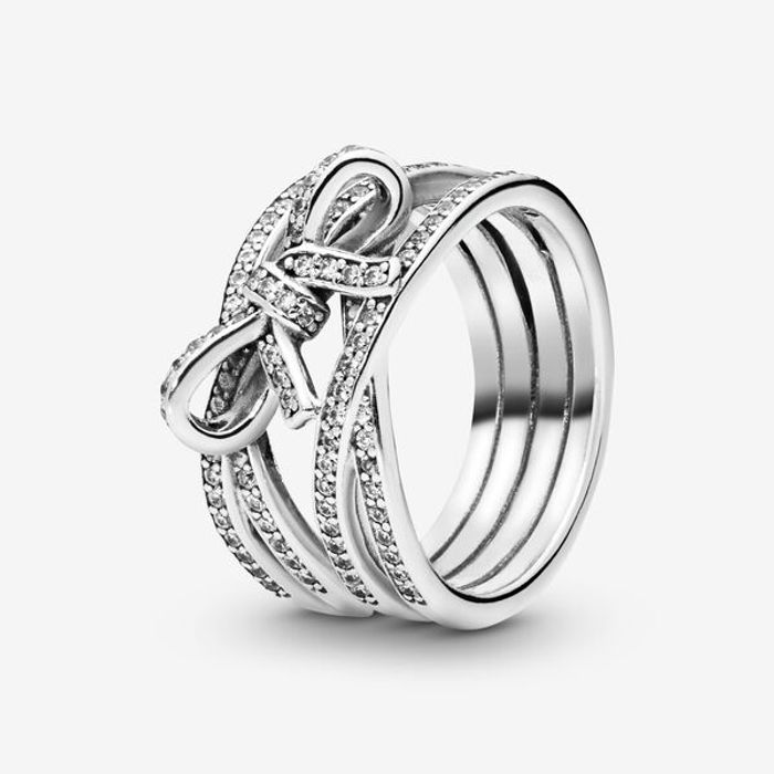 Cheap Sparkling Ribbon & Bow Ring at Pandora Only £49!