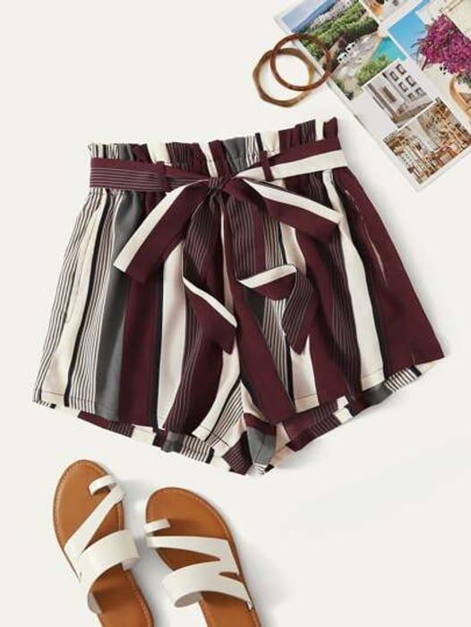 Paperbag Waist Striped Shorts