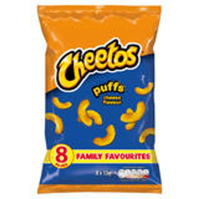 Cheap Cheetos Puffs - Cheese & Flamin Hot Flavour's 8 Pack at Iceland Only £1!