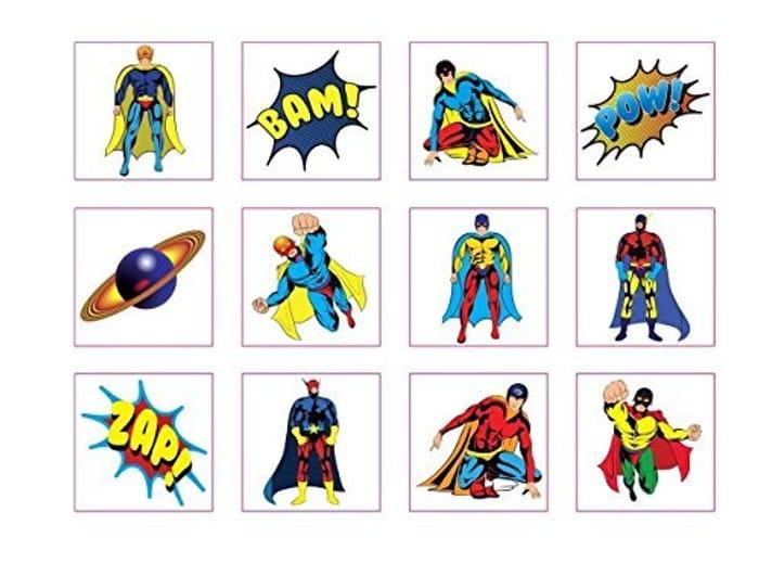 24 Superhero Childrens Temporary Tattoos