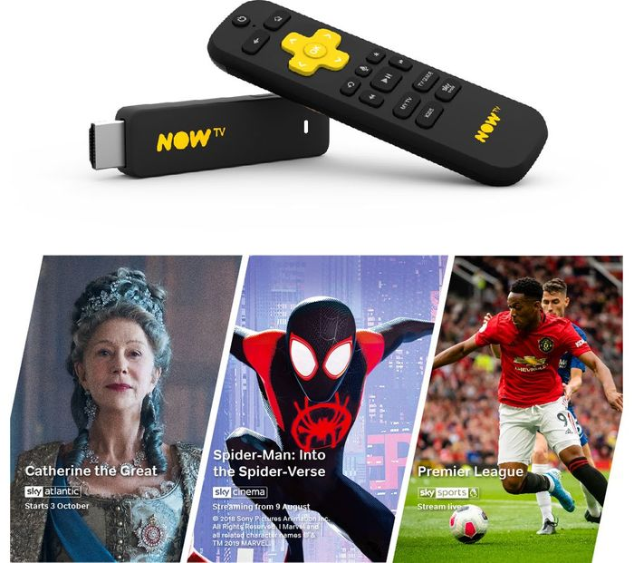 NOW TV Smart Stick Voice Search, 1mth Entertainment Sky Cinema & 1 Day Sports