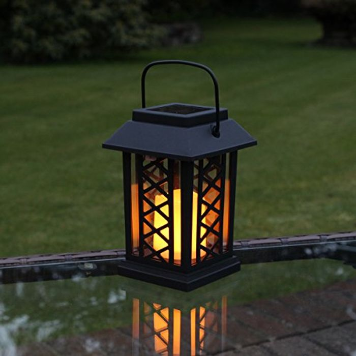Festive Lights Garden Candle Lantern - Solar Powered - Flickering Effect