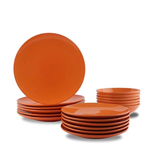 AmazonBasics 18-Piece Stoneware Dinnerware Set - Tangerine Orange, Service for 6
