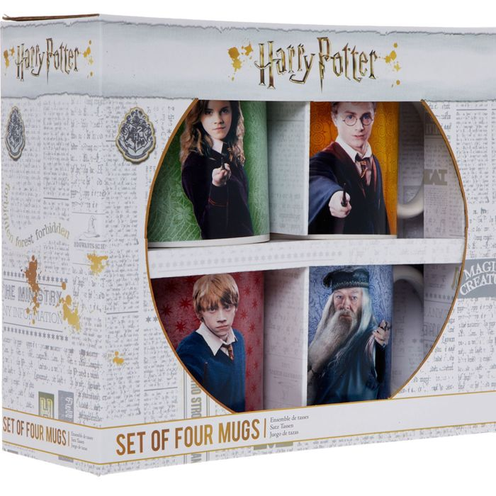HARRY POTTER Four Pack Multicoloured Character Mugs 9x8cm