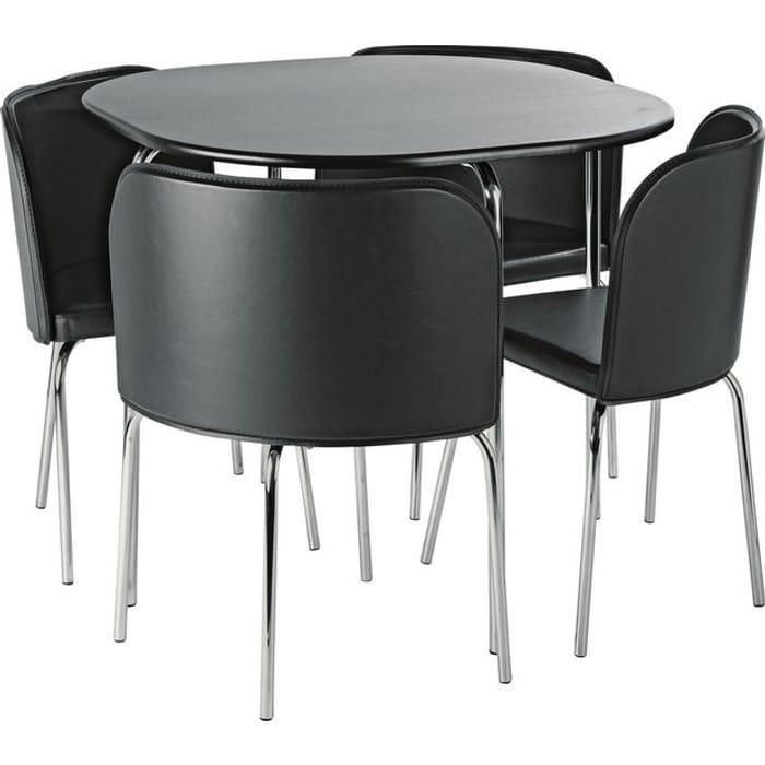 Argos Home Amparo Black Dining Table & 4 Black Chairs - Save £12!