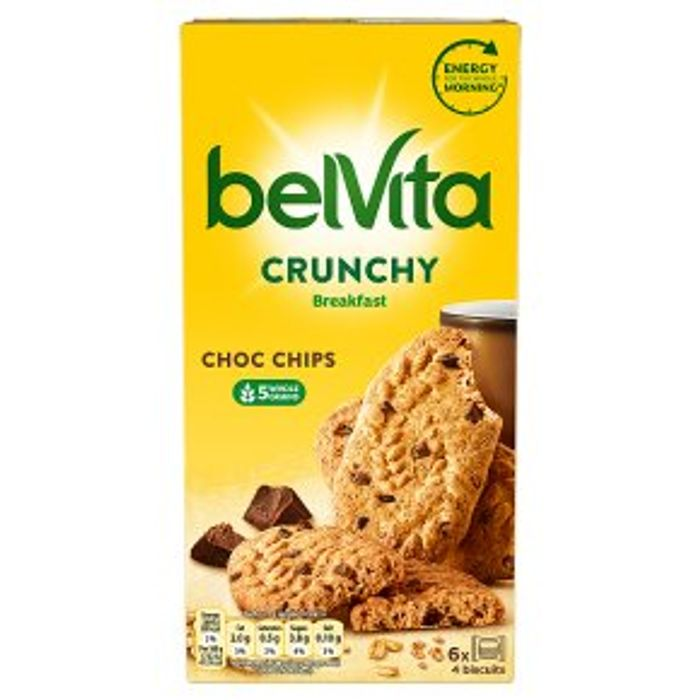 Belvita Breakfast Biscuits Bars Crunchy Choc Chips 6x50g - Save £1.50!