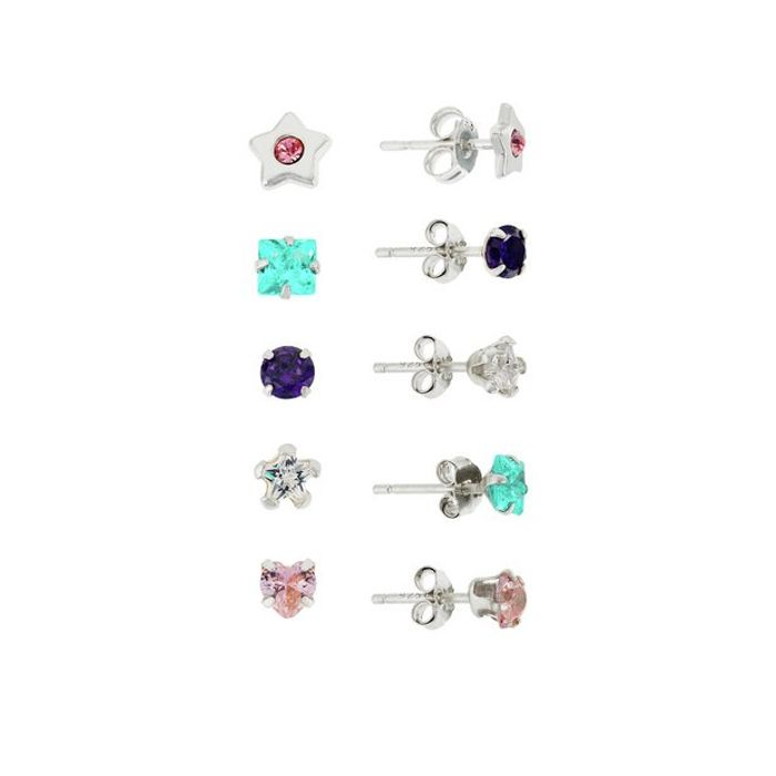 Cheap 5 Pairs Sterling Silver CZ Stud Earrings - Save £9!