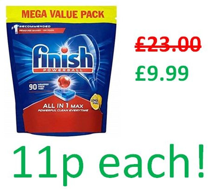 Cheap 90 Finish All-in-1 Max Dishwasher Tablets - Only £9.99!