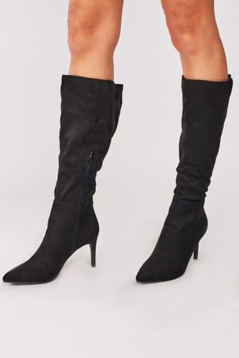 Black Suedette Heeled Boots £5.00