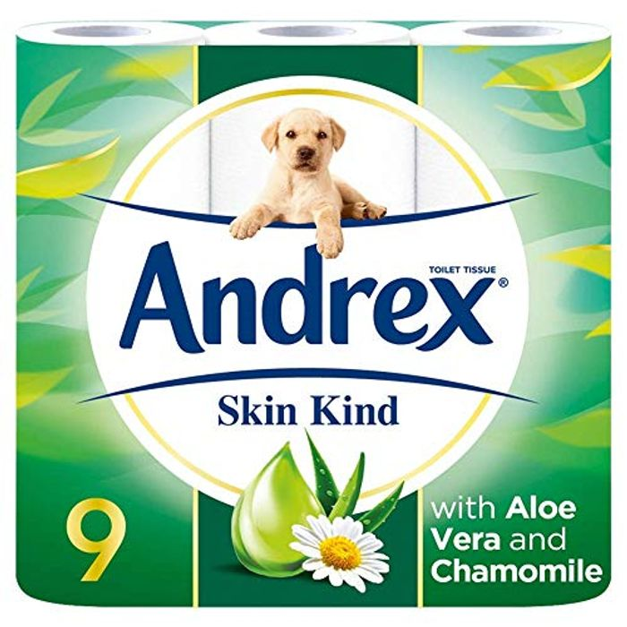 9 Andrex Skin Kind Toilet Rolls, with Aloe Vera (Amazon Pantry)