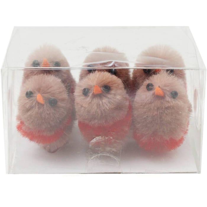 Mini Christmas Robin Embellishments 6 Pack