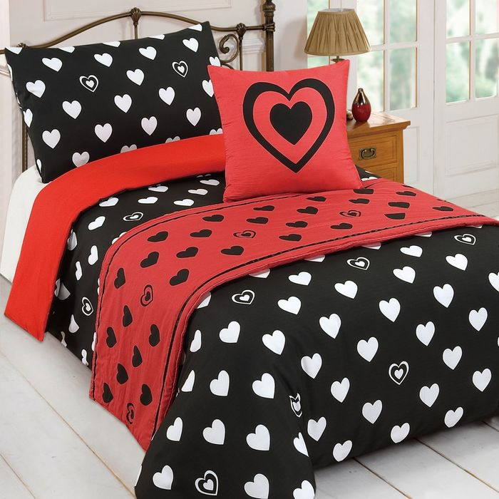 Cheap Bed in a Bag Bedding Set - Red/black, Single - Only £6.59!