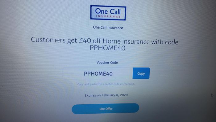 Customers Get £40 off Home Insurance with Code (Paypal)