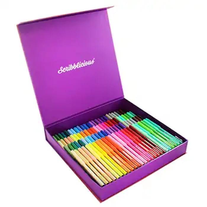 100 Piece Glitter Cased Felt Tip Pens Set BETTER than HALF PRICE