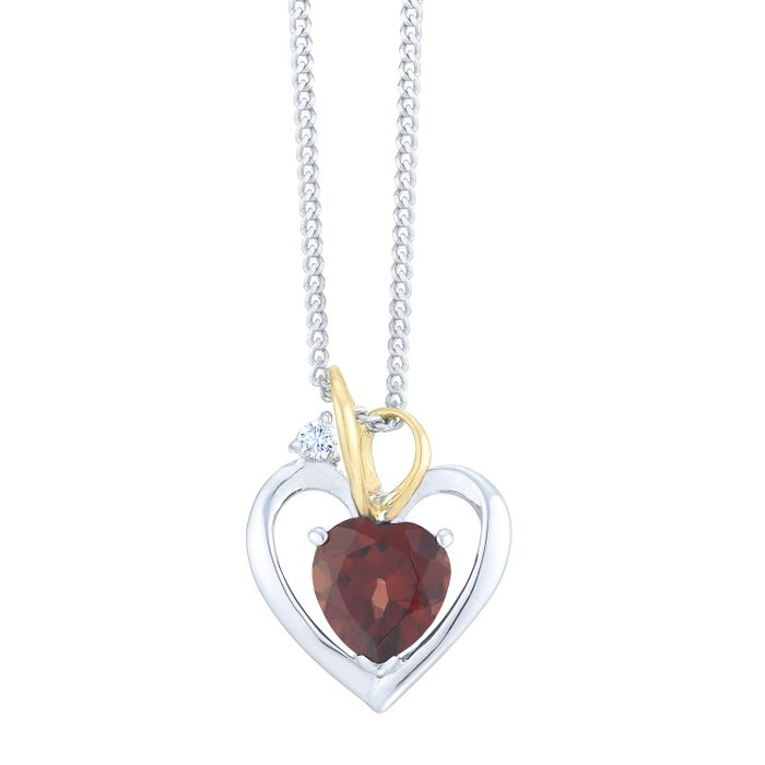 Cheap Sterling Silver & 9ct Yellow Gold Garnet Heart Pendant, reduced by £25!