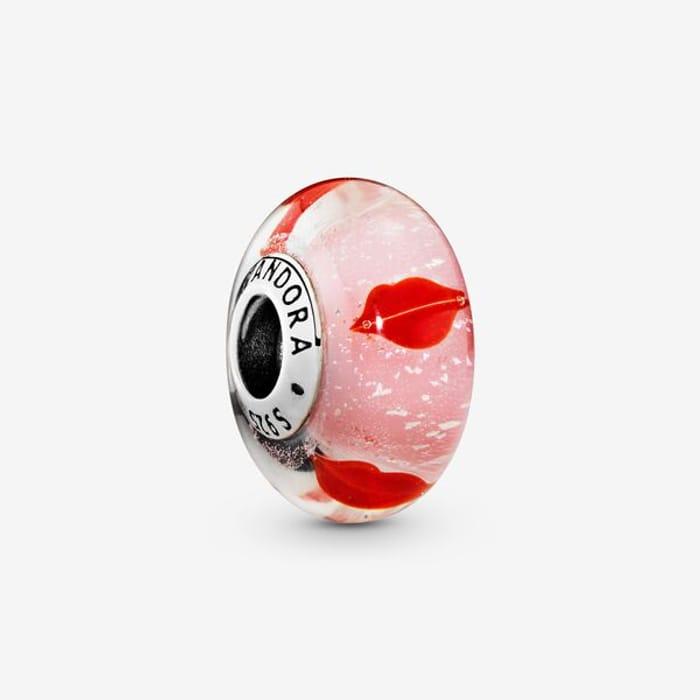Red Lips Murano Glass Charm