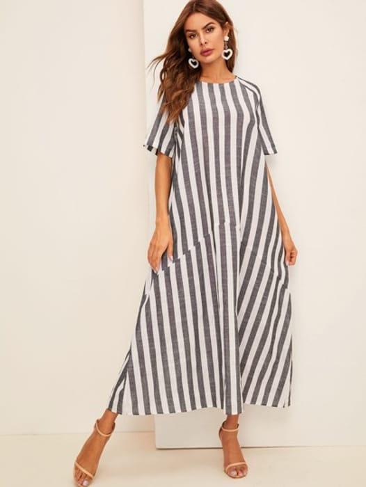 Striped Trapeze Hijab Dress